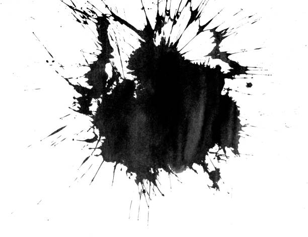 Ink blot on white stock photo