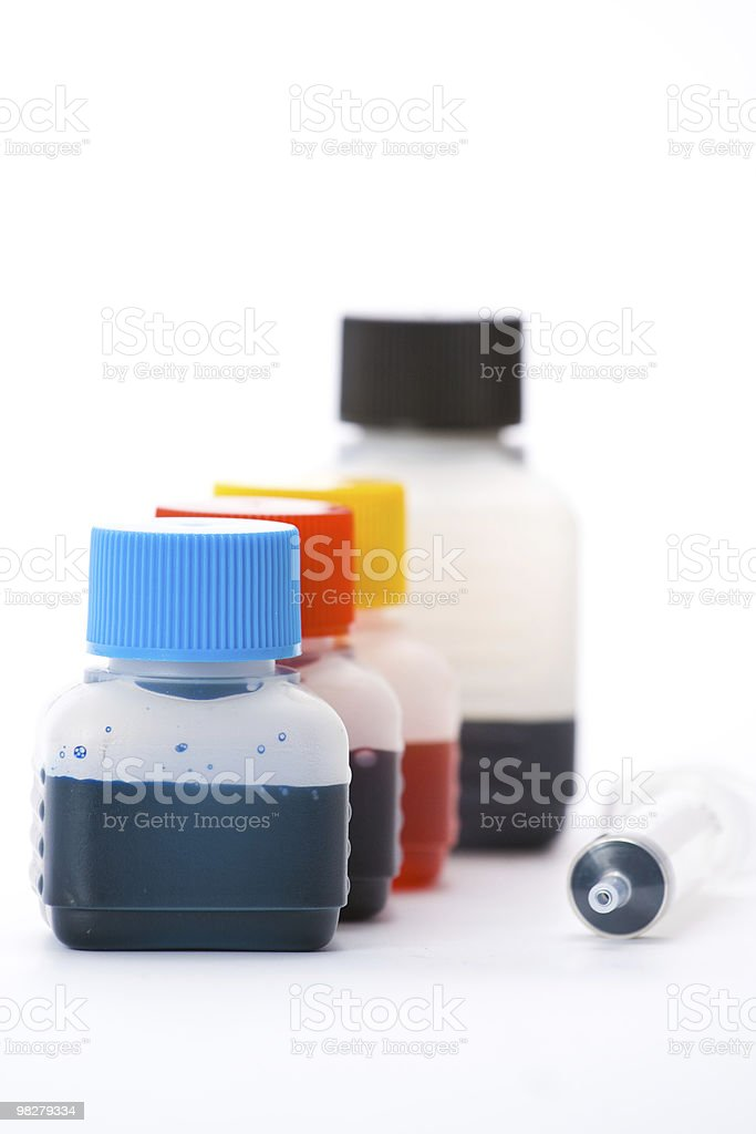 Ink bottles royalty-free stock photo