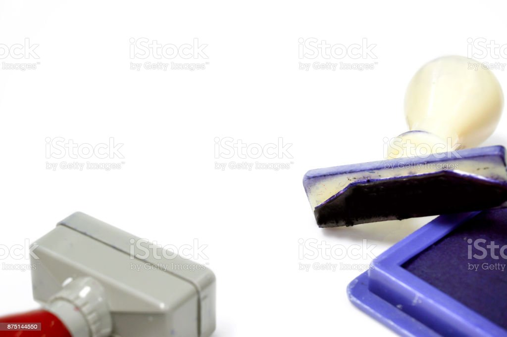 Ink cartridges and stamper stock photo