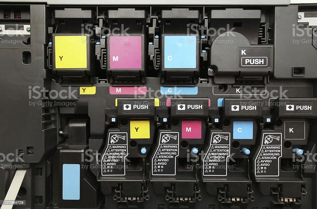 CMYK ink cartridges for laser copier machine stock photo