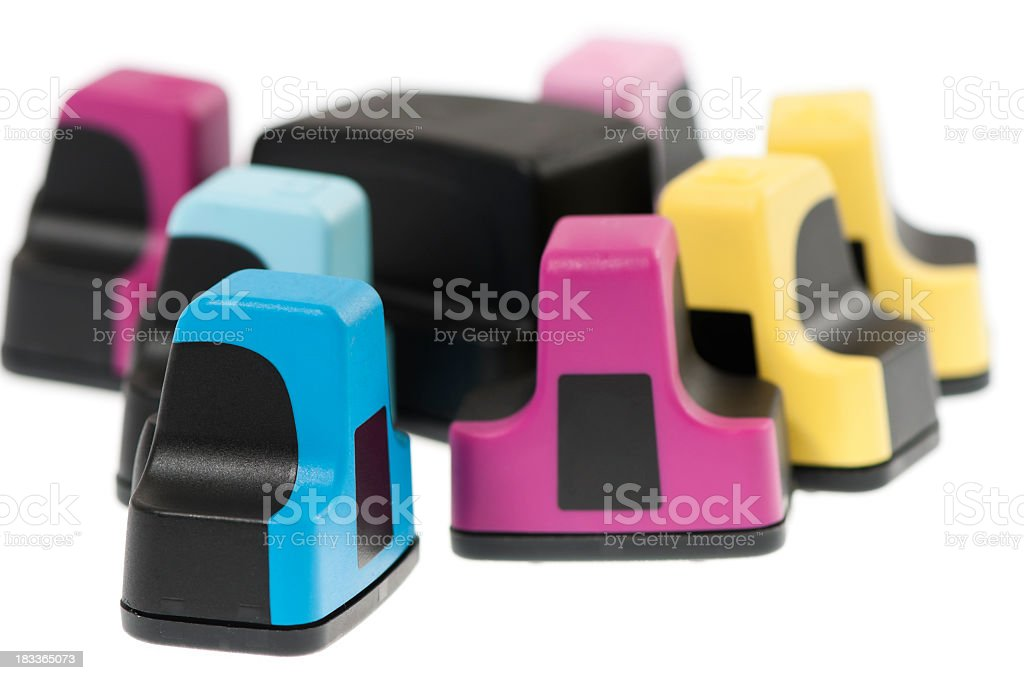 Ink cartridges to recycle, isolated on white royalty-free stock photo
