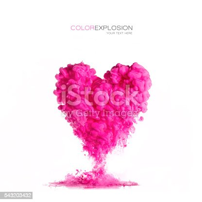 istock ink cloud pink heart-shaped on white. Color Explosion 543203432