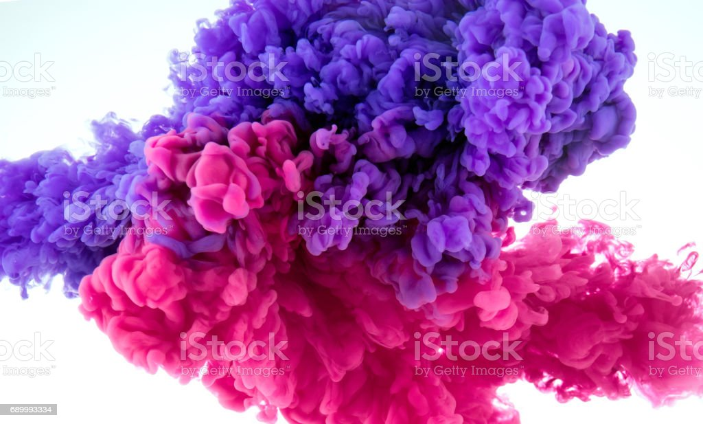 ink color splash in water - mix background stock photo