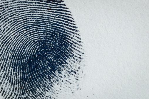 Thumbprint on paper. Macro.
