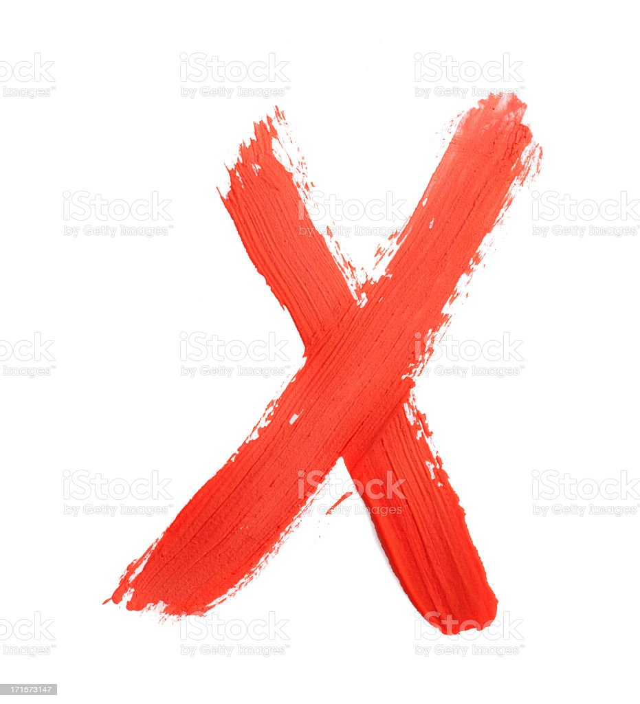 Ink hand painted letter X in white background stock photo