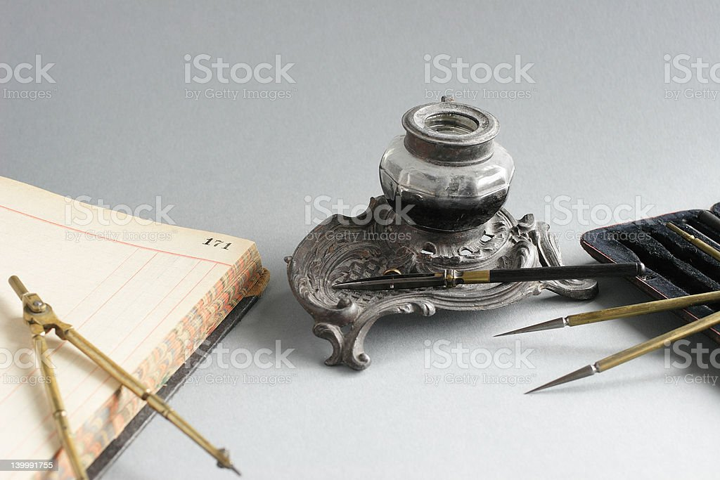Ink Pod and Compasses Case royalty-free stock photo