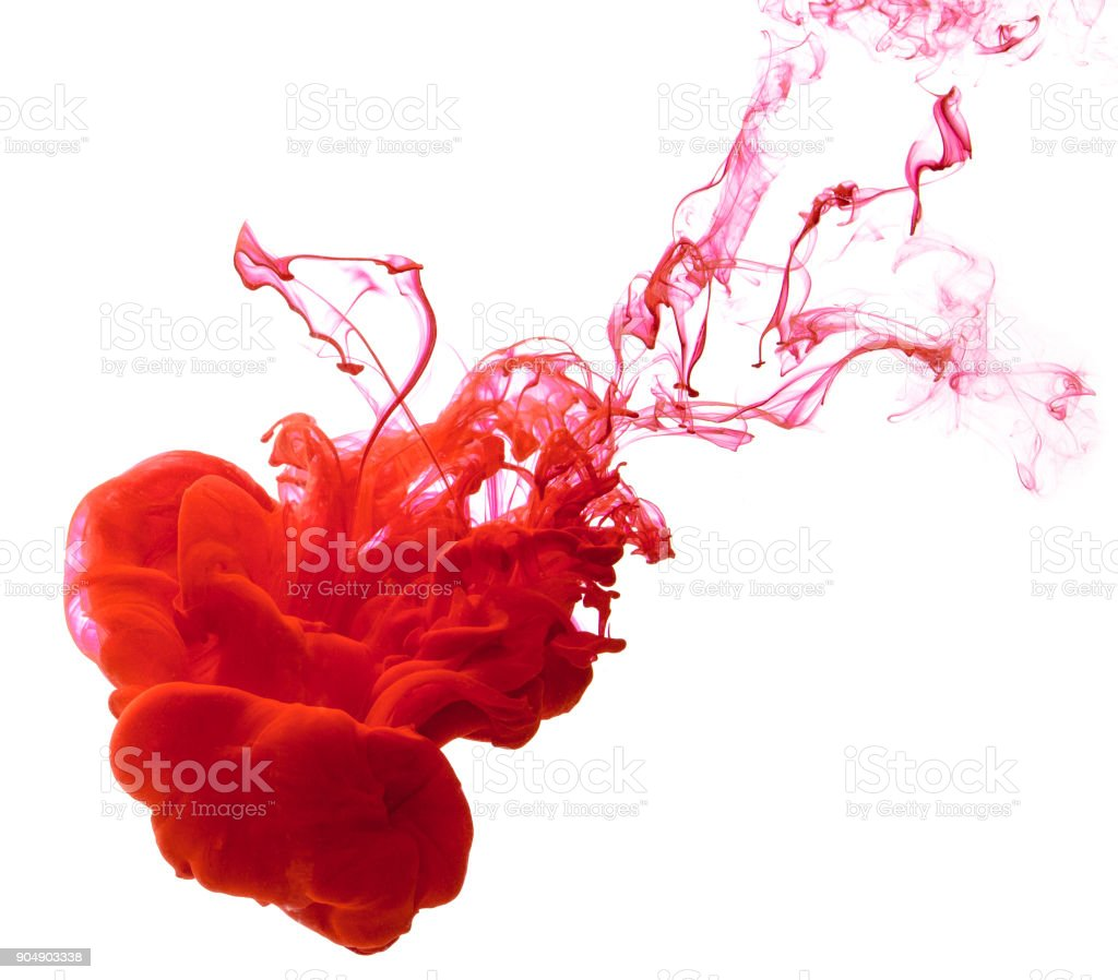 Ink red in the water isolated on white background stock photo