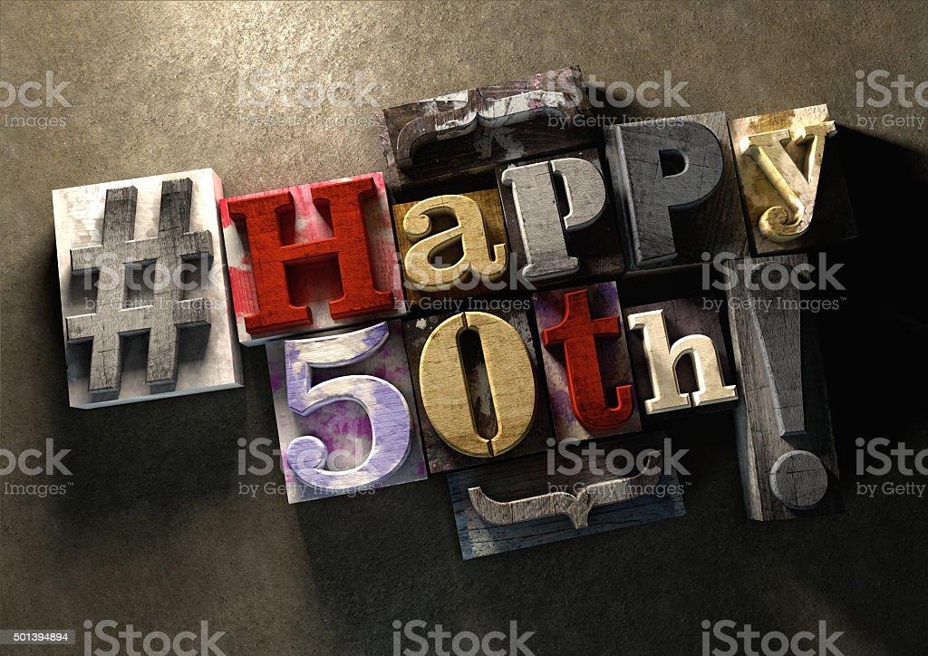 Tinte Spritzflecken Drucken Holz blocks mit Grunge-Happy 50. Geburtstag – Foto