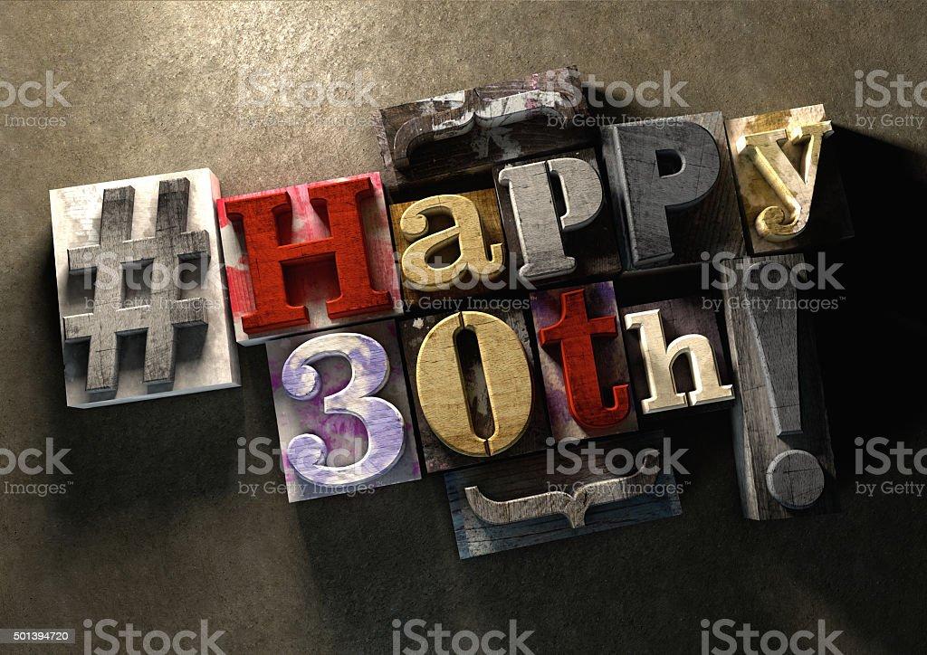 Tinta splattered bloques de madera con feliz cumpleaños sucia 30 - foto de stock
