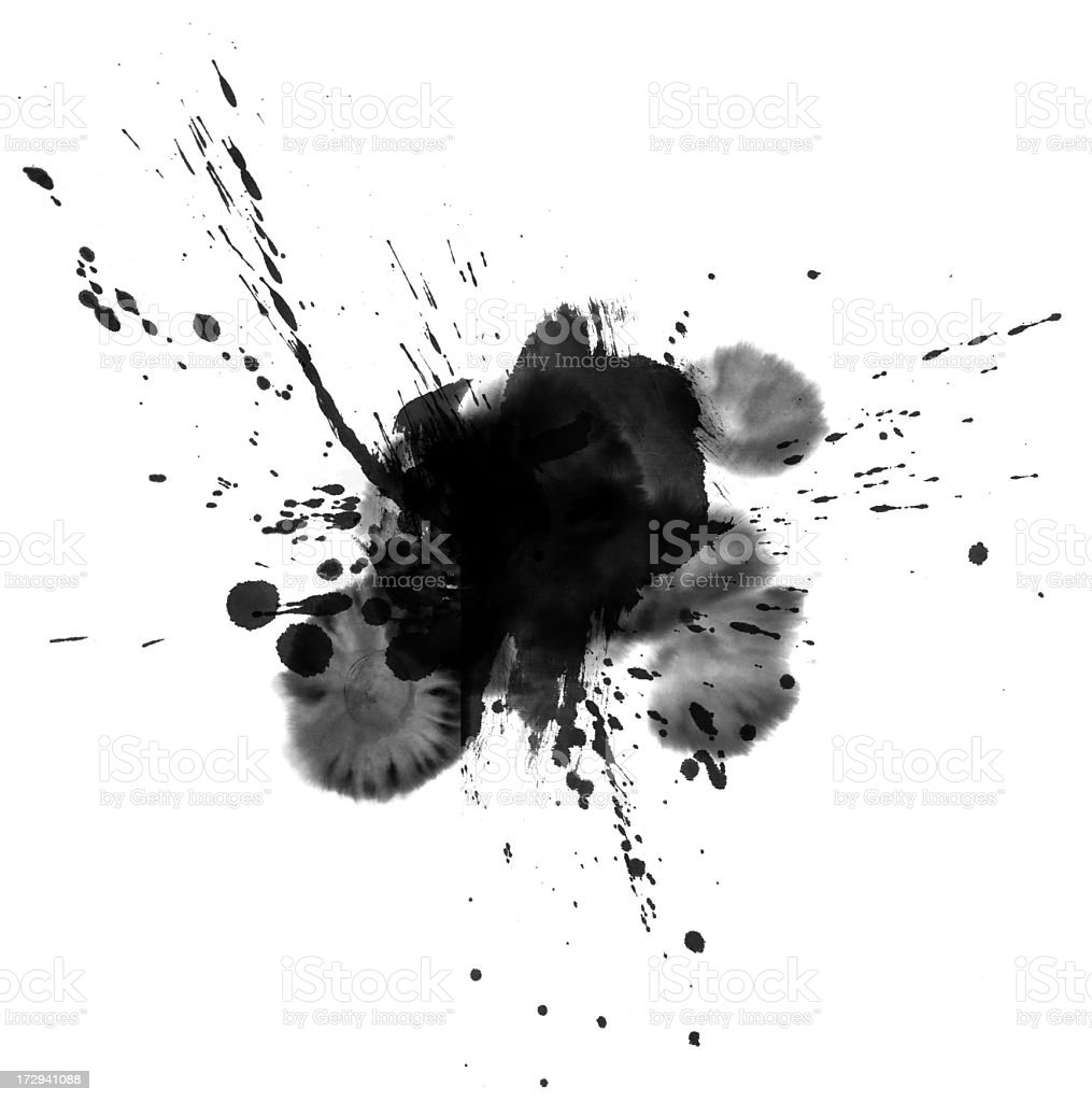 Ink wash painting splatter on a white background stock photo