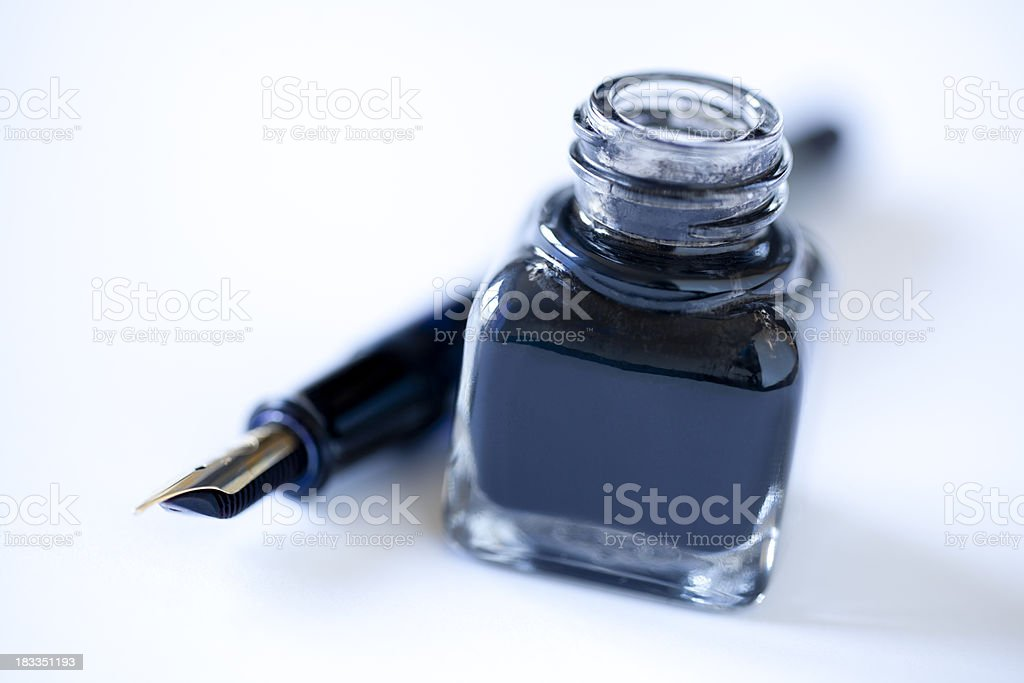 Ink well and pen royalty-free stock photo