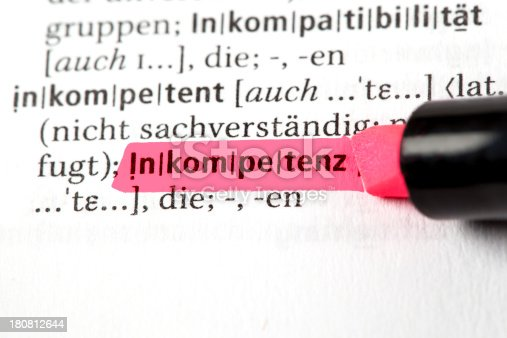 Inkompetenz - German definition of the word incompetency