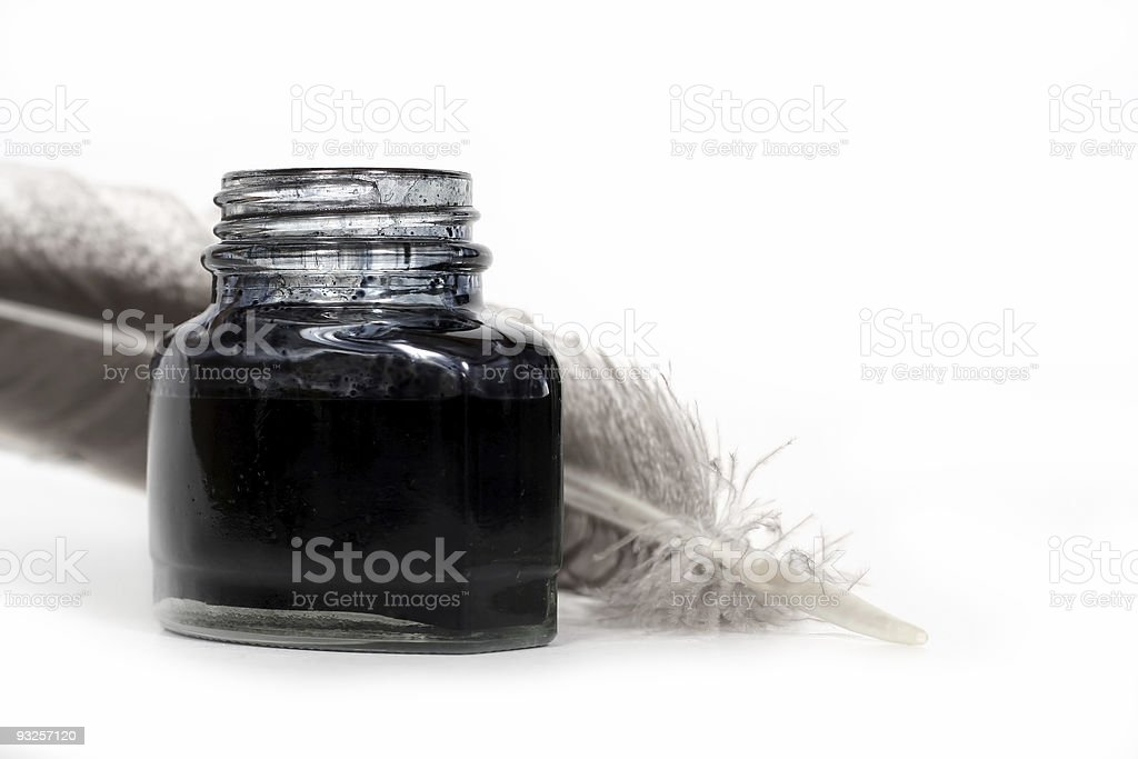 inkwell and quill royalty-free stock photo