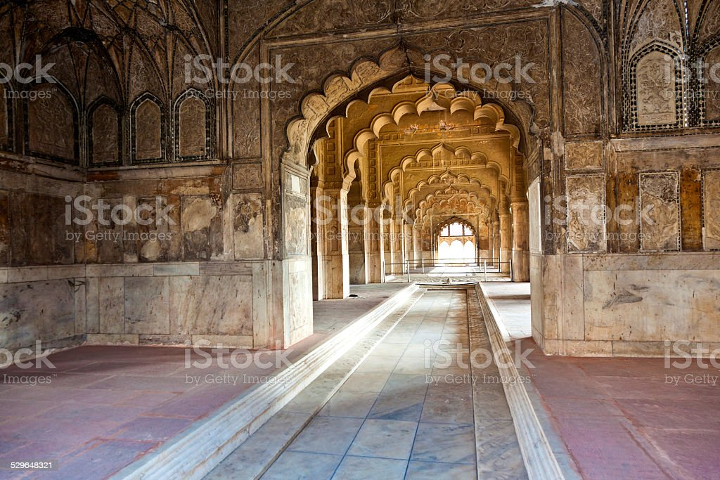 Inlaid marble, columns and arches, Hall of Private Audience stock photo