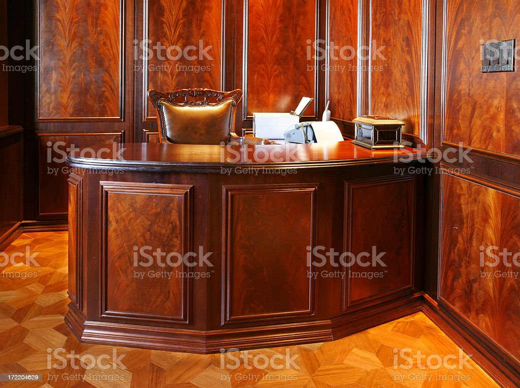 Inlaid wood desk stock photo