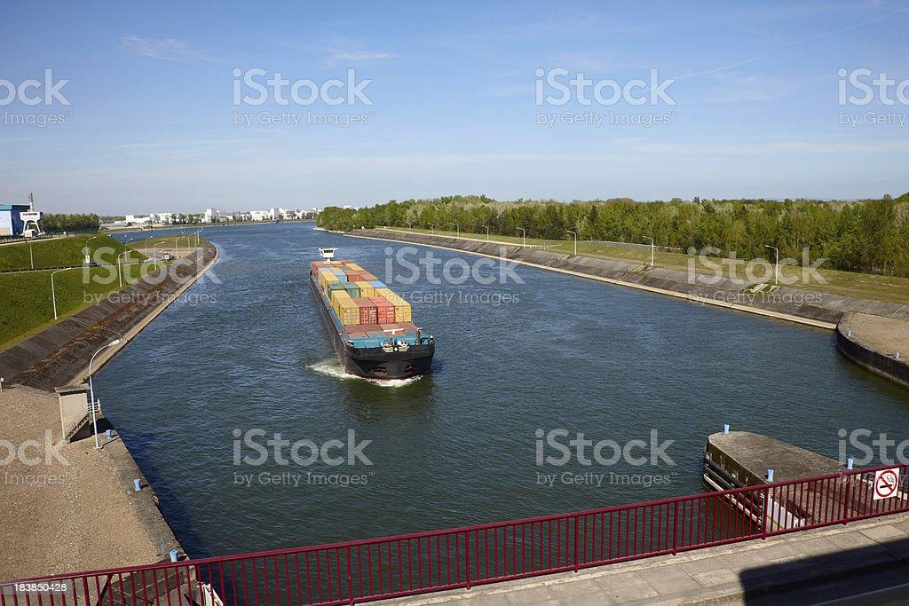Inland cargo ship stock photo