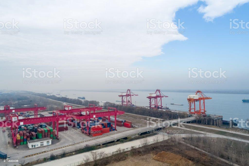 inland container terminal closeup stock photo