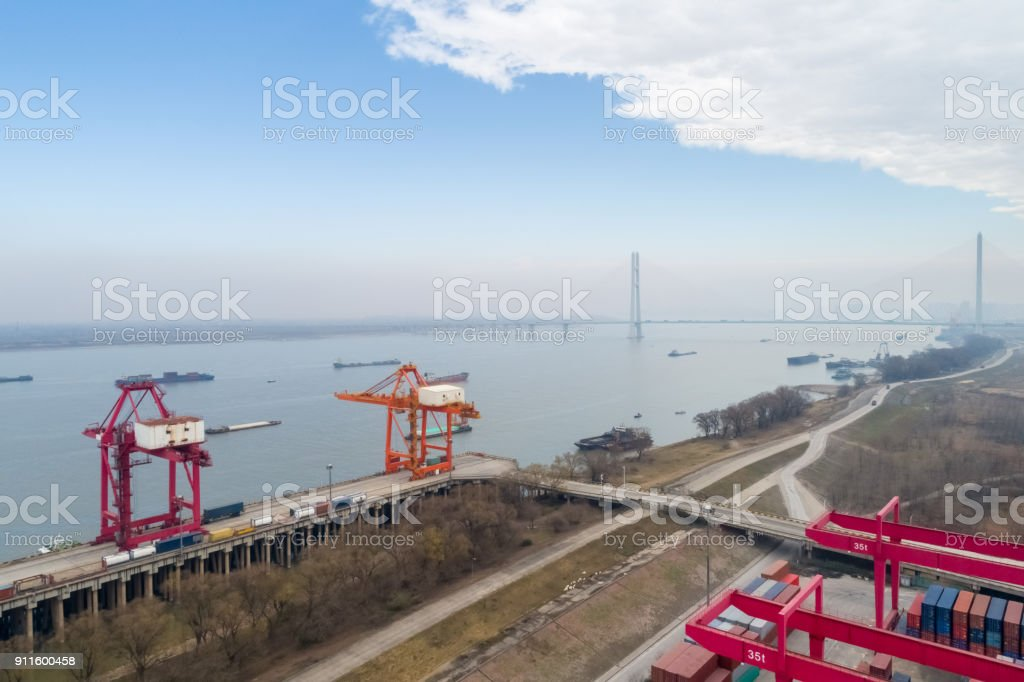 inland container terminal stock photo