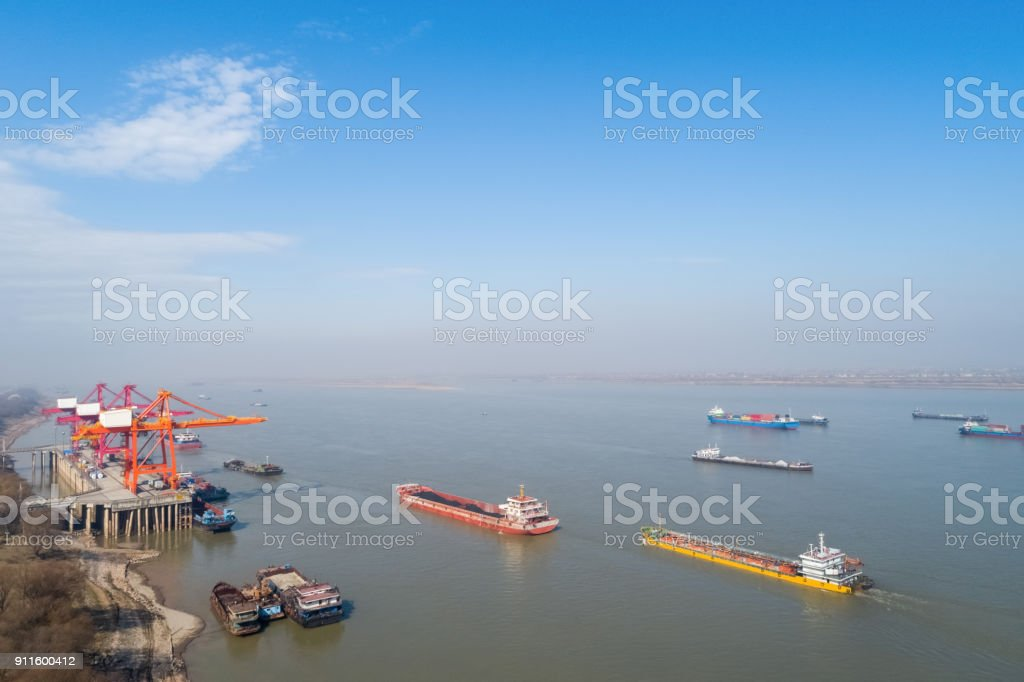 inland container terminal with yangtze river stock photo