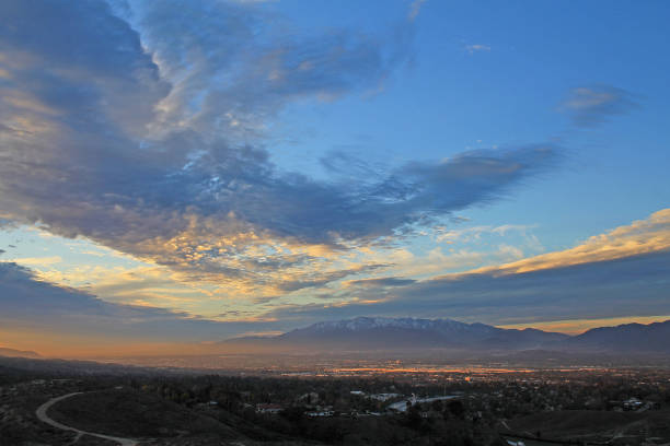 Inland Empire Sunset Sunset and clouds over the Inland Empire san bernardino california stock pictures, royalty-free photos & images