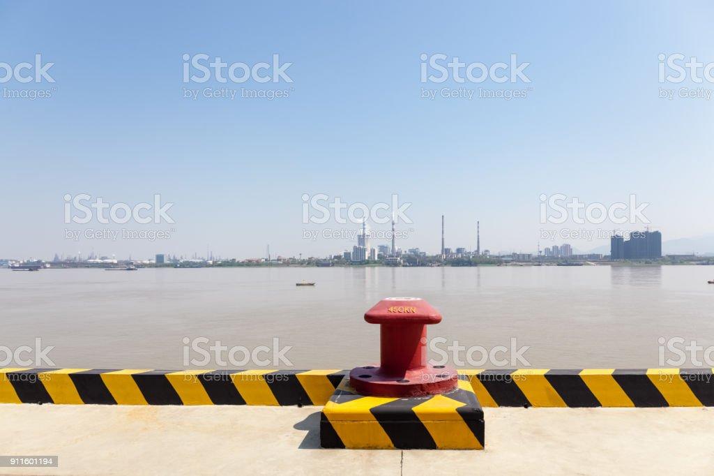 inland pier and yangtze river landscape stock photo