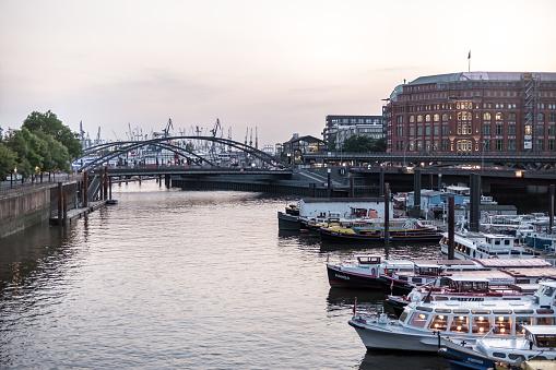 Inland port in Hamburg, Germany