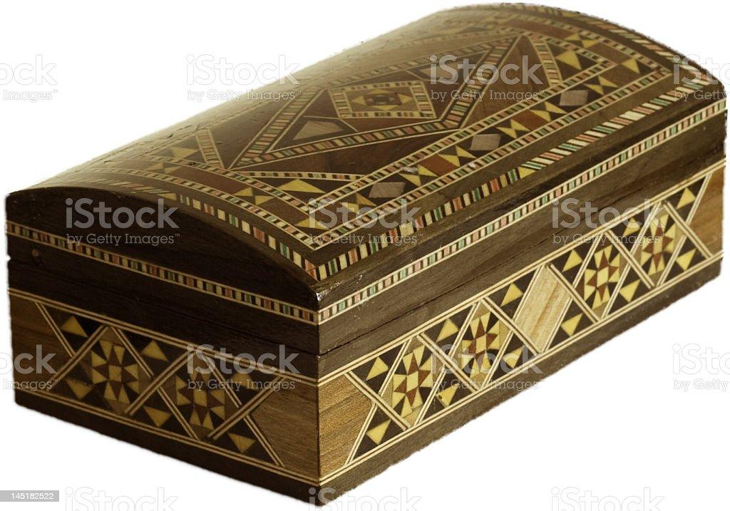 Inlay wood box stock photo