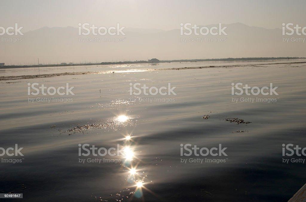 Inle Lake and Sun Stars royalty-free stock photo