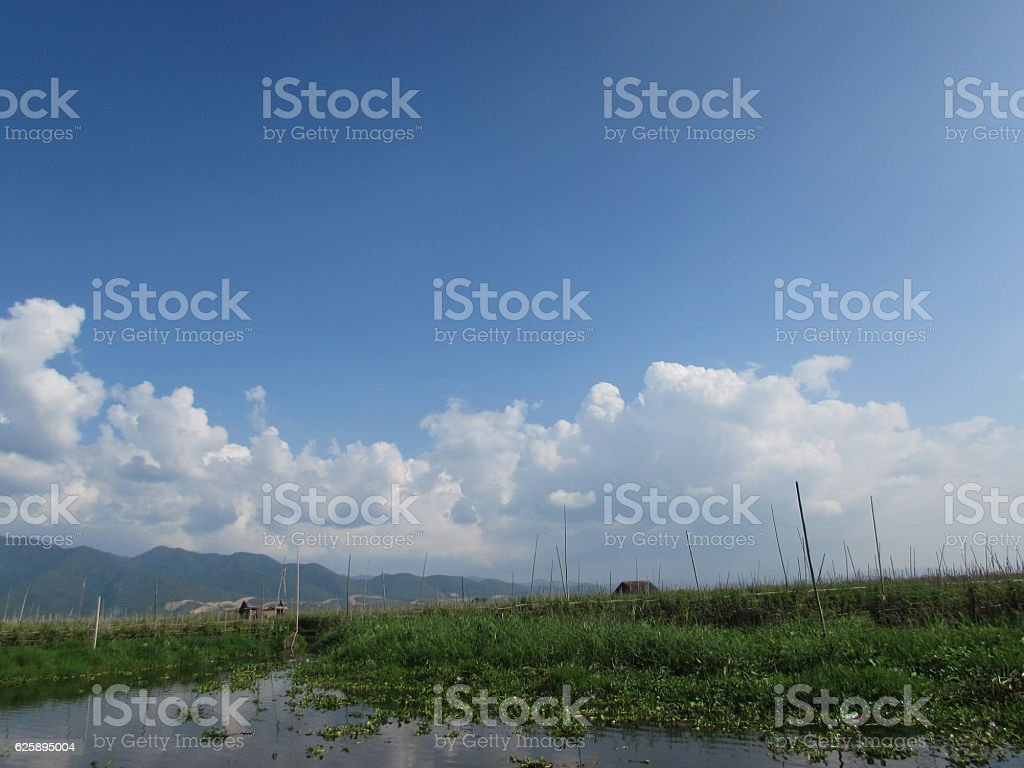 Inle Lake garden landscape with blue sky stock photo