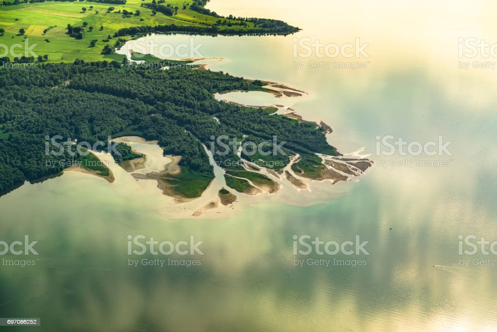inlet to lake chiemsee stock photo
