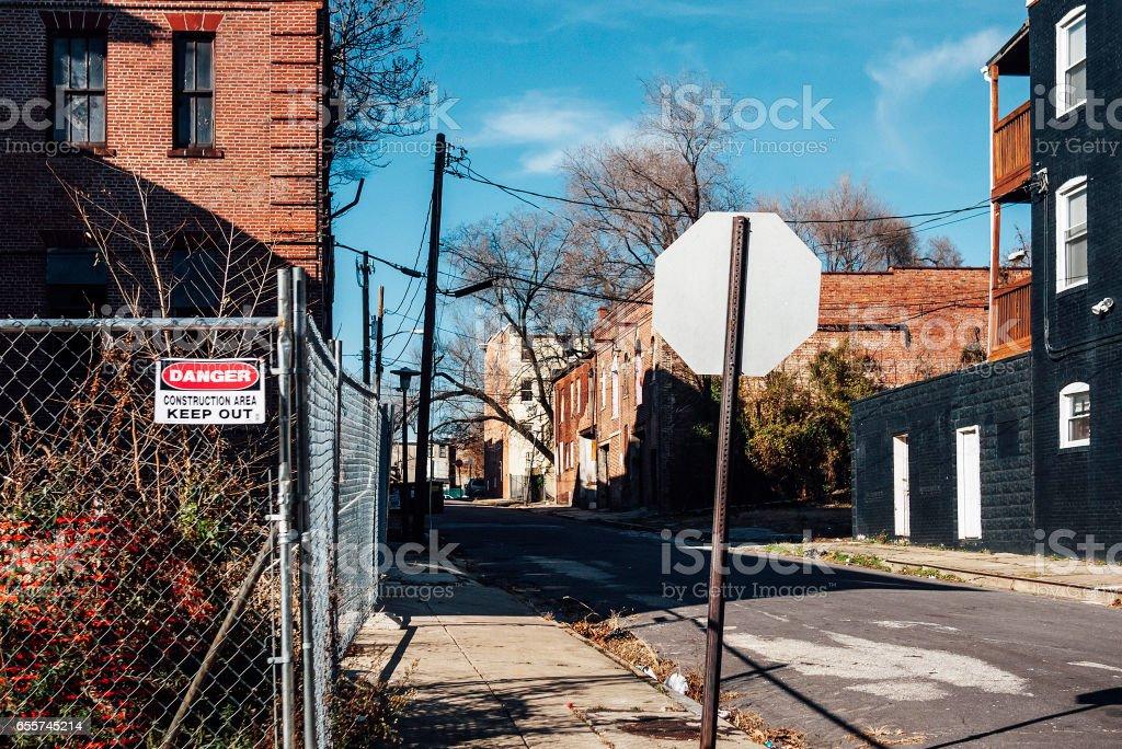 Inner city backstreets. Baltimore, MD. stock photo