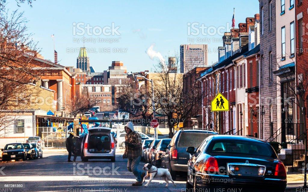 Inner city Baltimore. stock photo