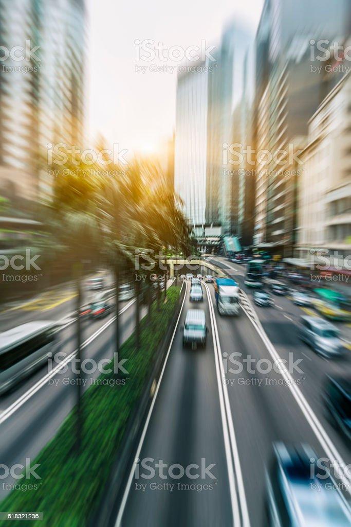 inner city road in motion,Hong Kong stock photo