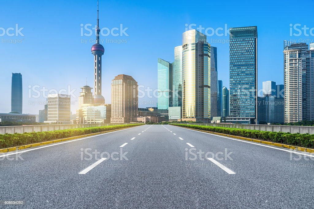 inner city road stock photo