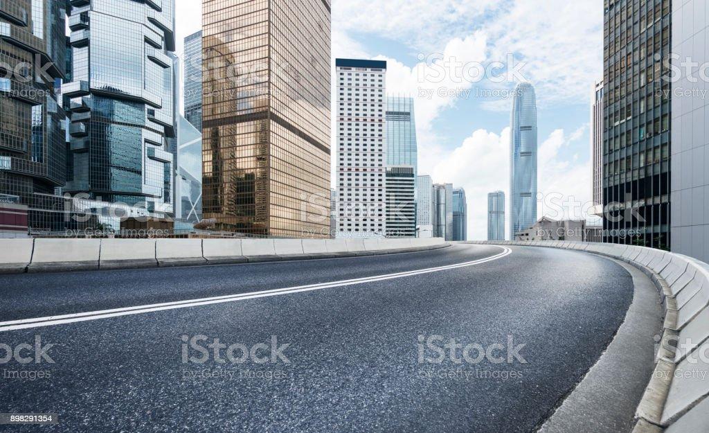 inner city road,Hong Kong. stock photo