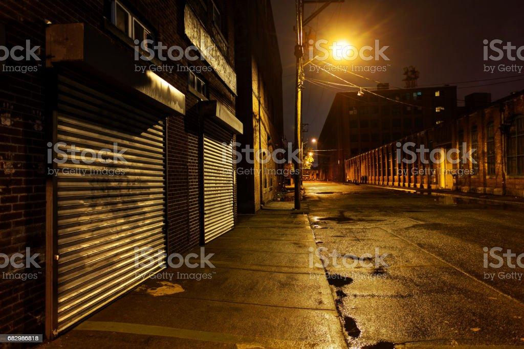 Inner City street at Night stock photo