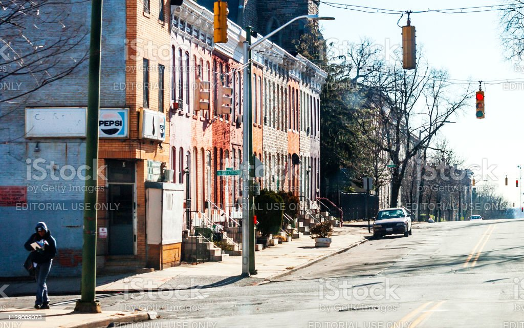 Inner city streets - Baltimore, MD stock photo