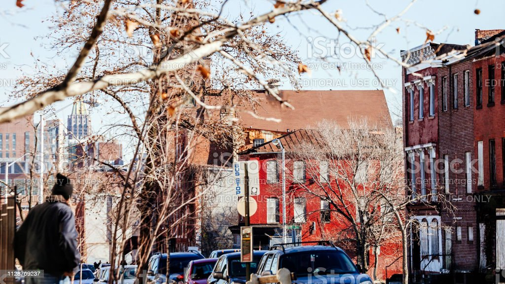Inner city streets - Baltimore stock photo