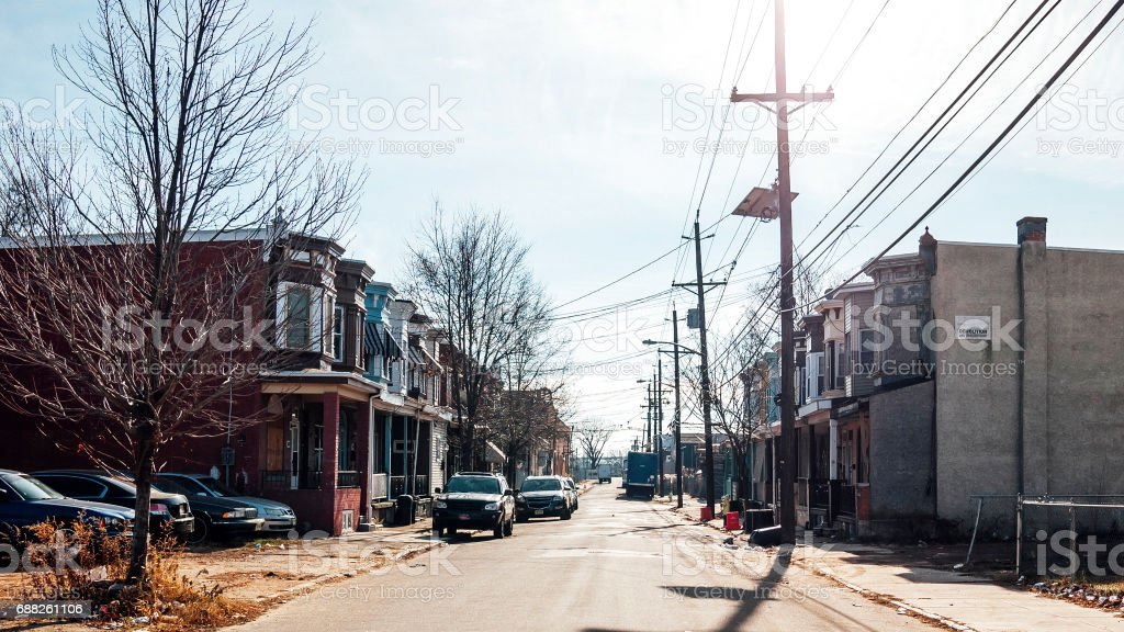 Inner city streets - Camden, NJ stock photo