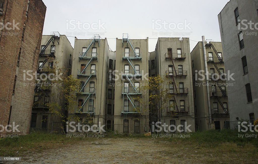 Inner City Tenement Apartment Buildings Sometimes Called Ghetto stock photo