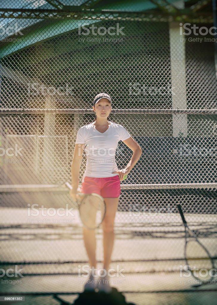 Inner city tennis portrait stock photo
