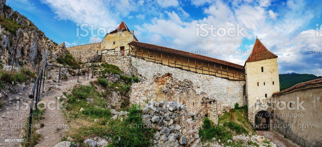 Inner countryard of the Rasnov Fortress, Romania stock photo