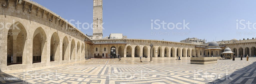 Inner Court of Great Mosque in Aleppo, Syria stock photo