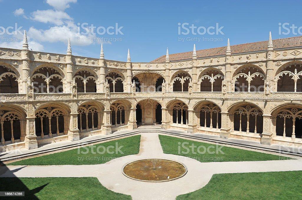 Inner courtyard Monasteiro dos Jéronimos stock photo
