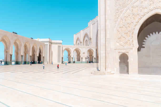 Inner courtyard of the Hassan II Mosque in Casablanca. Entrance doors on the right. stock photo