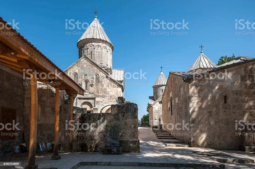 Inner courtyard of the monastery Haghartsin. stock photo