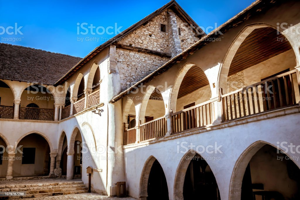 Inner courtyard of the Timios Stavros Monastery in Omodos village. Limassol Distric, Cyprus stock photo