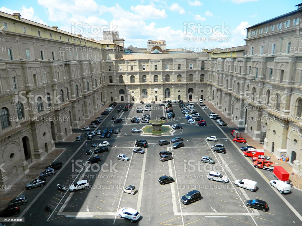 Inner courtyard of Vatican museum stock photo