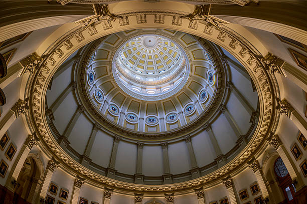 inner dome of colorado state capitol - colorado state capitol stock photos and pictures