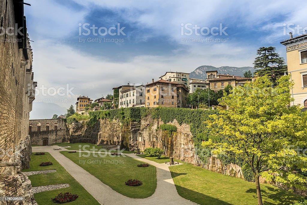 Inner Garden of Buonconsiglio Castle in Trento stock photo